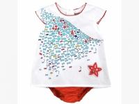 Kleid Boboli weiß/rot